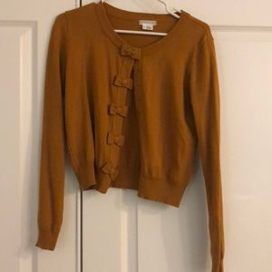 Urban outfitters UO bow cardigan mustard med